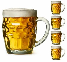 4x Dimple Stein Beer Mug Dimpled Clear Glass Mugs 19.5 Oz (569mL) Each B... - $22.99