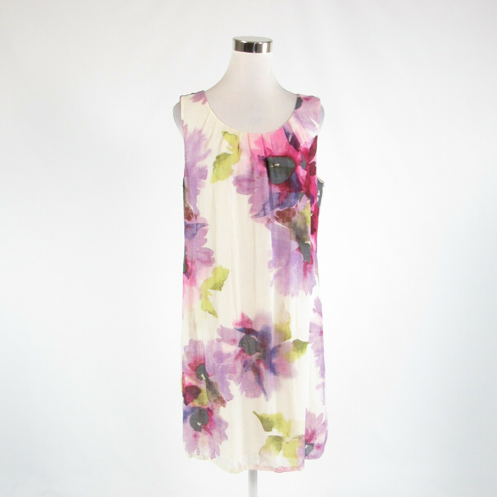White purple floral print ANN TAYLOR LOFT sleeveless shift dress 10