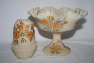 Signed Fenton Satin Custard Fairy Lamp & Compote Yellow Flowers