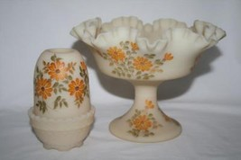 Signed Fenton Satin Custard Fairy Lamp & Compote Yellow Flowers - $48.00