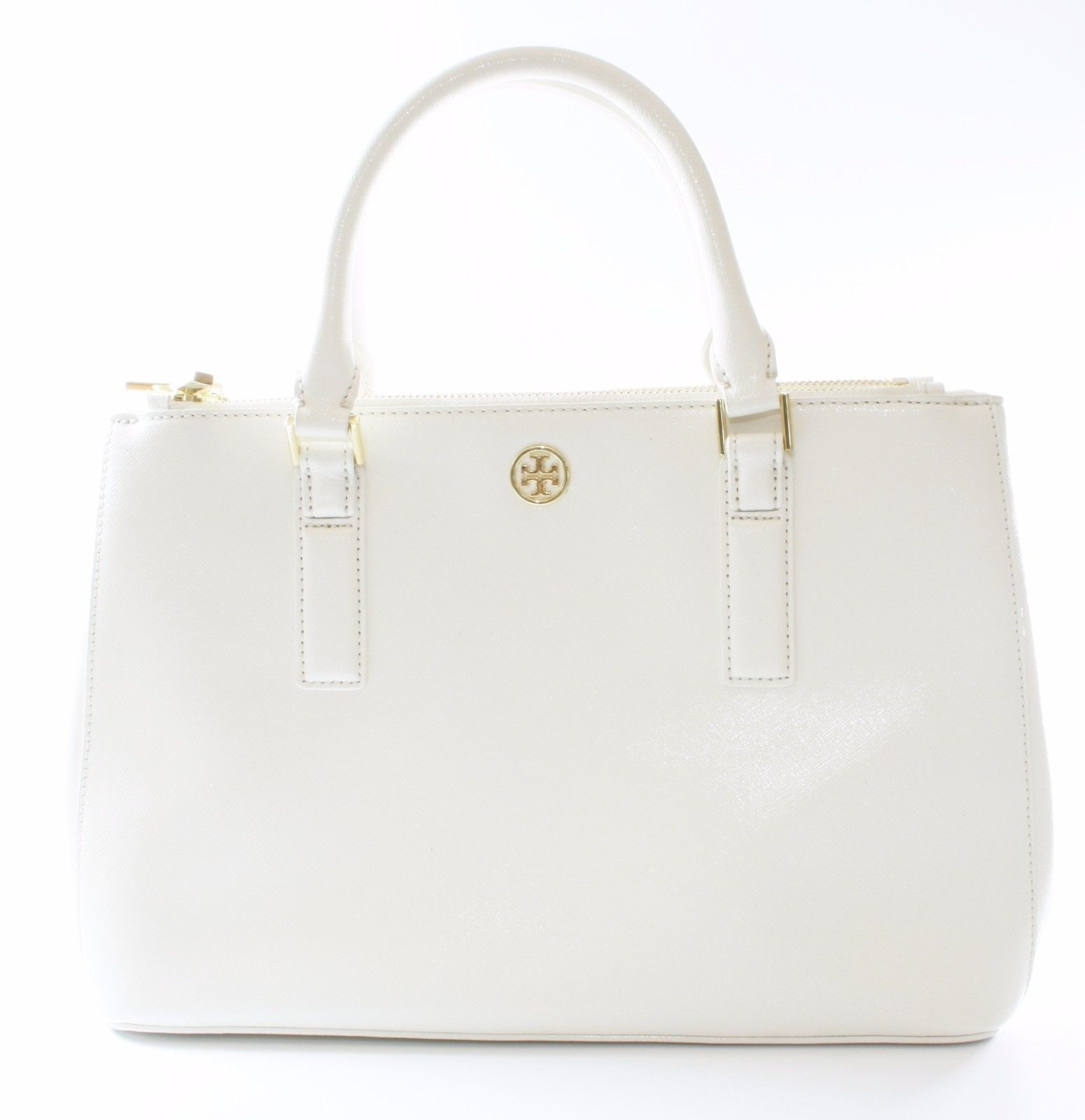 Primary image for Tory Burch Robinson Tote Bag Ivory Cream Saffiano Leather Medium Handbag