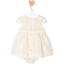 Mayoral Baby Girl 0M-12M Ivory White Burnout Floral Social Dress image 2