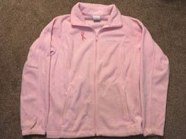 Columbia Womens Pink (Breast Cancer) Full Zipper Fleece, Size Large - $24.99