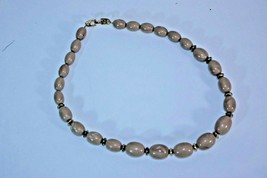 Napier Necklace Choker Brown Bead Gold Tone Vintage Signed - $19.75