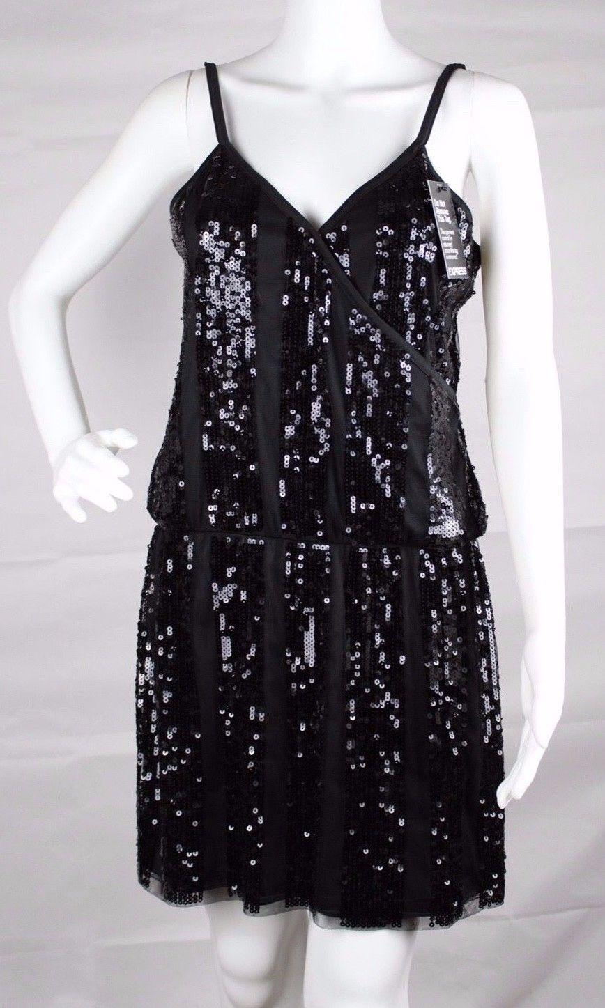 Express women's dress sequin sleeveless black party dress size M image 6