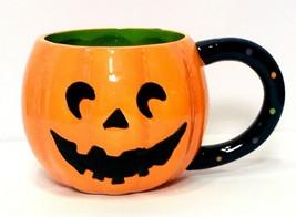 Pier 1 Imports Jack O Lantern Pumpkin Dolomite Mug Cup Pier One Hallowee... - $16.94