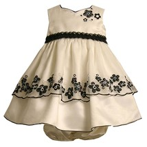 Bonnie Jean Baby Girl 3M-24M Black White Sequin Embroidered Border Organza Dress