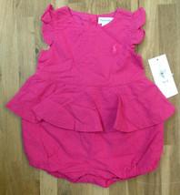 Ralph Lauren Girls' Eyelet Romper, Active Pink, Size 3 M, MSRP $45 - $21.77