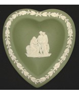 Wedgwood Green Jasperware Heart Shaped Pin Dish The Procession - $9.75
