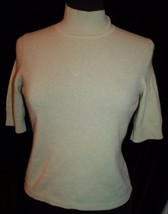 Ann Taylor Sz M Mint Green 100% Cashmere Sweater Short Sleeve Sleeved - $31.69