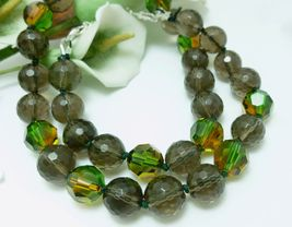 Smoky Quartz Faceted Gemstone Beaded Necklace 18 inch - $48.00