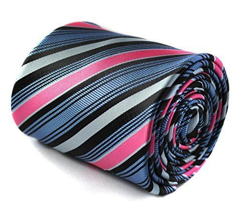 Frederick Thomas purple, pink, grey and light blue striped men's tie