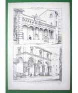 ARCHITECTURE PRINT : Italy Arcades at Monte at Assisi & Casa de Nobili i... - $16.20