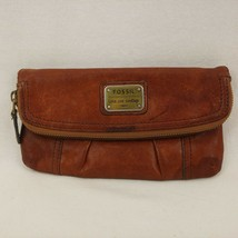 Fossil Leather Brown Wallet Zip Top Long Live Vintage 1954 Clutch Wallet - $32.66