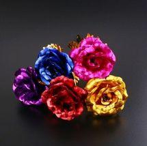 Rose Flower Multi-Color Plated Rose Romantic Valentine Day - 1 x Random Color image 7