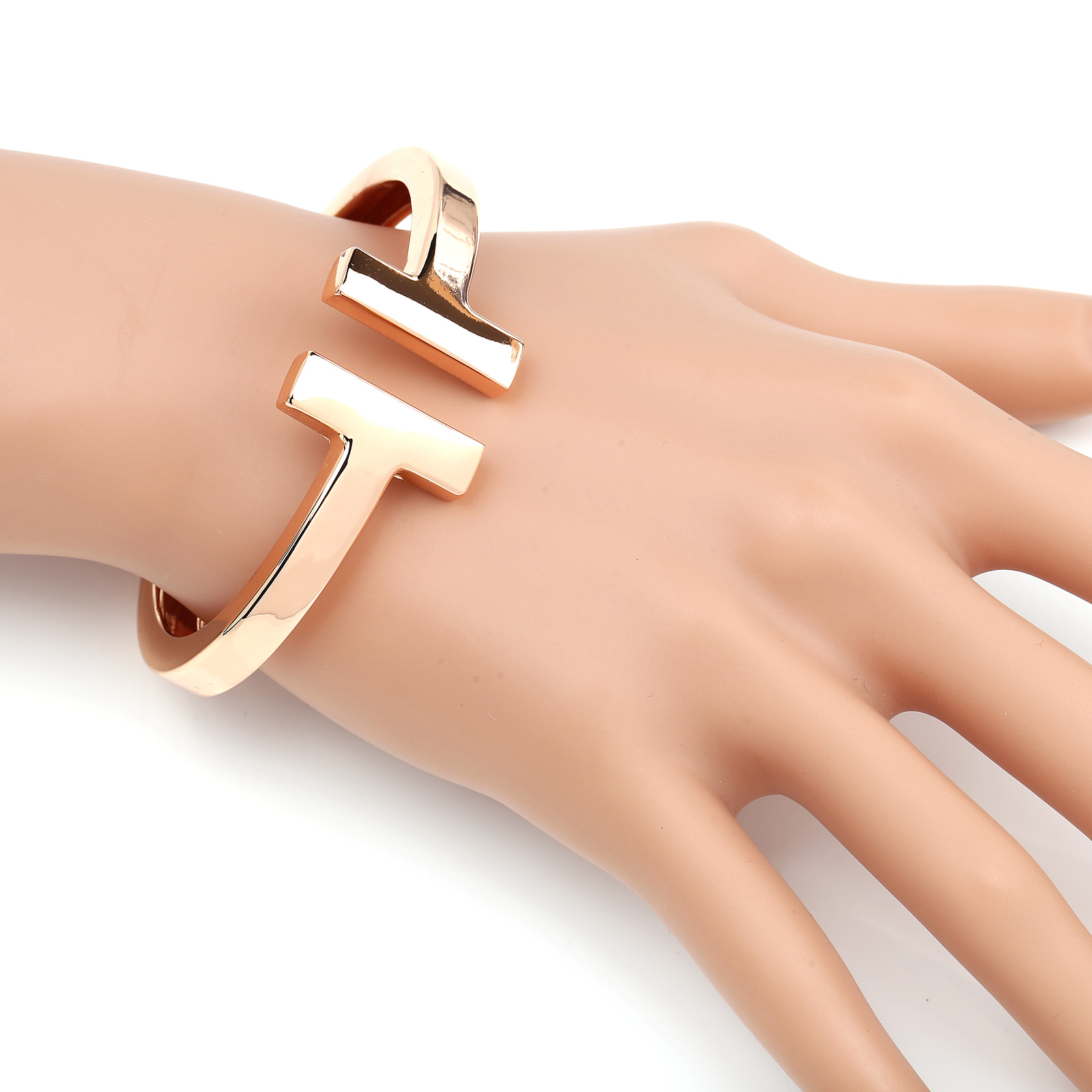 UE- Contemporary, Designer Rose Gold Tone Hinged T-Bar Cuff Bangle Bracelet