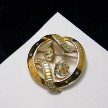 Vintage Crown Trifari Brooch Round Hinged Tear Drop Rhinestones Gold Pla... - $86.99