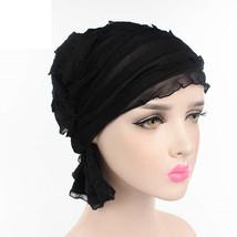 Spring Summer Women Muslims Chiffon Ruffle Cancer Chemo Hats Beanie Scar... - $8.75 CAD