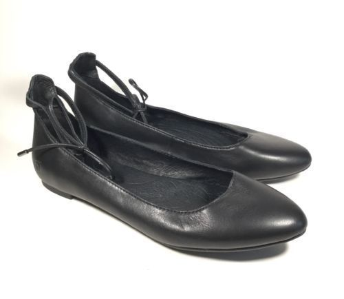 Women's Born Kharen Ankle Tie Ballet Flats Black  US 6.5 M