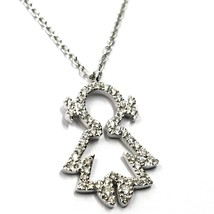 18K WHITE GOLD NECKLACE, BABY, CHILD, GIRL, DAUGHTER PENDANT DIAMONDS ROLO CHAIN image 1