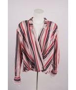 Bershka Women's Crossover Wrap Blouse Shirt L Striped Pink Blue Red 0735... - $34.64