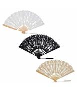 Bamboo Fans Lace Chinese Style Handheld Folding Flower Fabric Silk Weddi... - $7.33