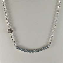 WHITE GOLD PLATED BRONZE REBECCA TENNIS NECKLACE BPBKBL14 MADE IN ITALY 18.90 IN image 2