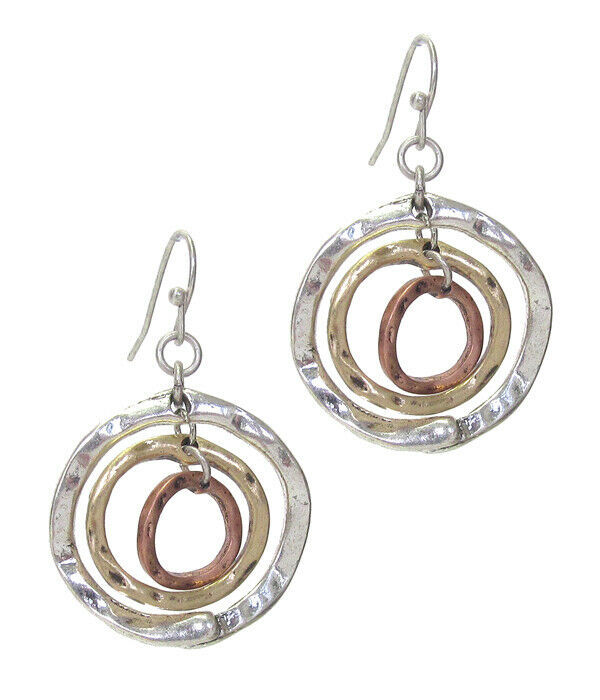 Primary image for Hammered Triple Loop Drop Earrings Silver NEW