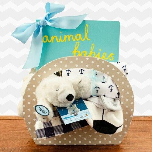 Bedtime Baby: Baby Boy Gift Basket, Bear