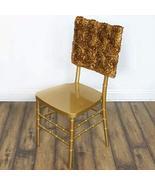 5PCS 3D Rosette Satin Chair Cap Slipcover Gold YSefa - $32.03