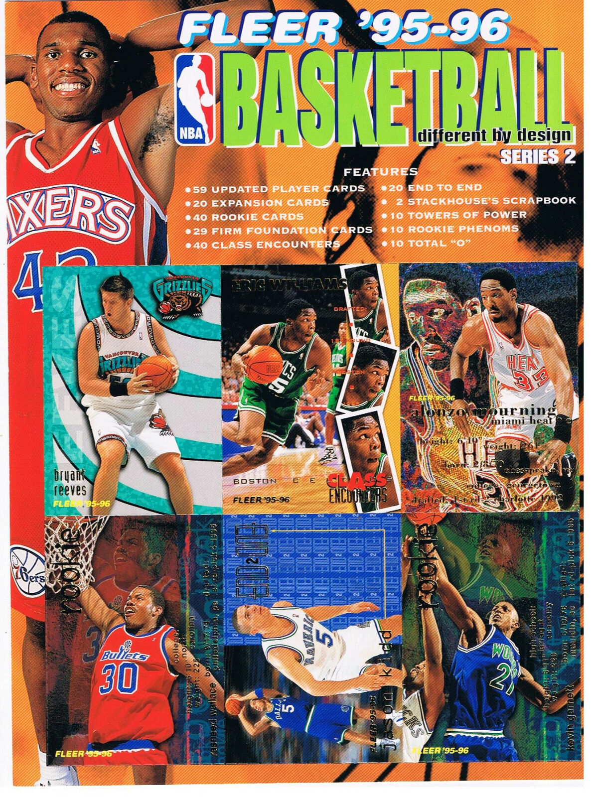 Fleer Basketball Ad 95-96 Series 2 6 Cards Attached - $1.56