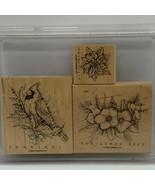 Stampin' Up! Christmas Cardinal 3 piece wood mounted stamp set - $33.60