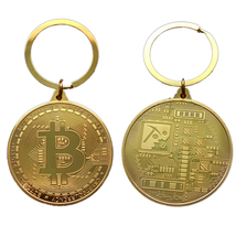 Gold Plated Bitcoin Coin Key Chain BTC Coin Art Collection Design Key Ring Gift image 7