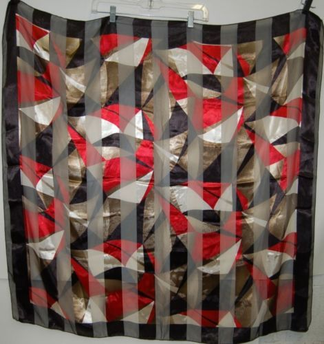 BVT Scarf 100 Percent Polyester Multi Colored Red Black White Brown