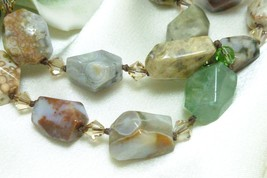 Ocean Jasper Polished Faceted Crystal Beaded Necklace 20 inch - $49.00