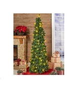 Pre Lit Green Christmas Tree 6 FT Pop Up Clear Lights or Mult - Colored ... - $89.98