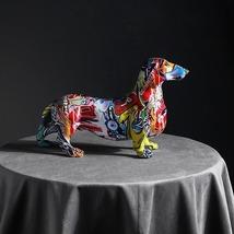 Graffiti Statue Painted Dachshund Dog Home Decor Office Sculpture Figurine Gift - $29.90