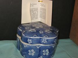 Hand Painted Mauve/Cream Floral Porcelain Ink Box With Description Made ... - $8.60