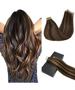 GOO GOO Remy Hair Extensions Tape in Human Hair Ombre Dark Brown Highlig... - $40.66