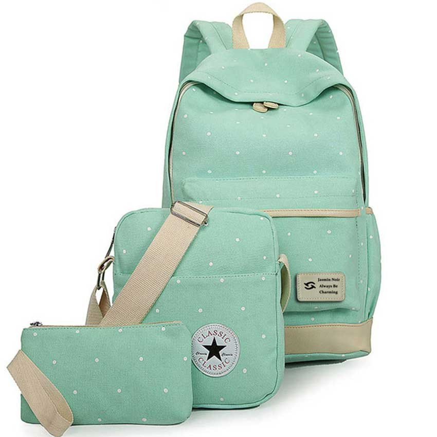 014# 3pcs Fresh Canvas Dot High Quality Ladies School Bag For Teenager Women