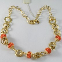 Silver Necklace 925 Yellow Gold Plated Circles Worked with Spheres Carnelian image 1