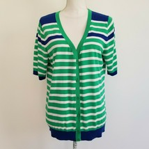 Talbots L Large Cardigan Blue Green Navy Stripe V-Neck SS Button Down Sw... - $24.99