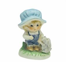 Porcelain figurine enesco blue bonnet puppy dog schnauzer big head gift ... - $19.75