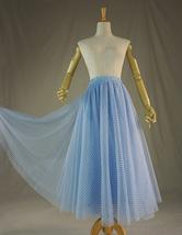 Light Blue Plaid Skirt Women High Waisted Long Plaid Skirt Tulle Skirt image 2