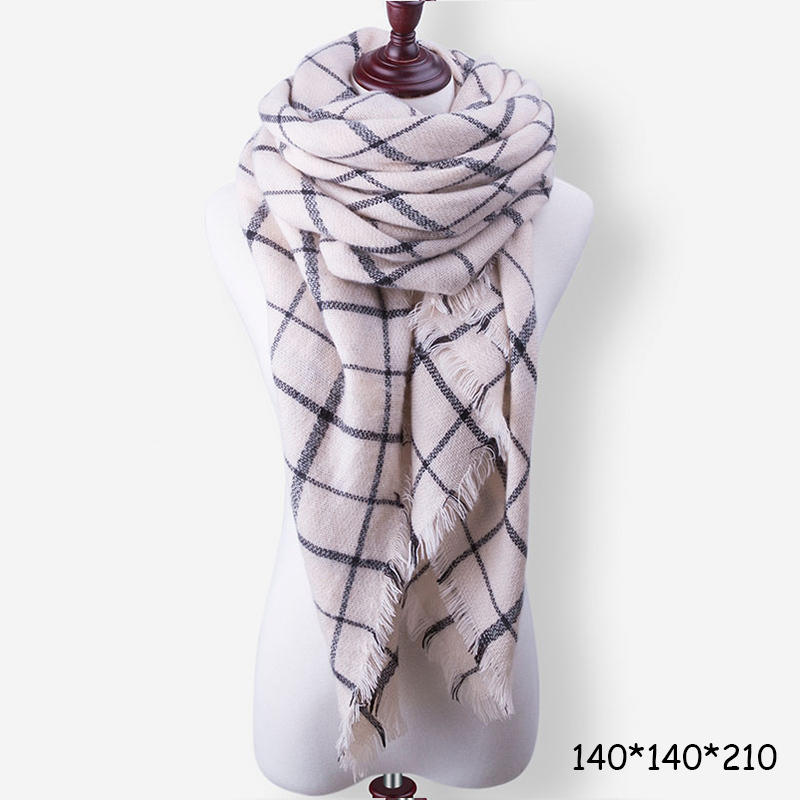 Evrfelan New Winter Scarf Fashion Women Scarf Luxury Plaid Cashmere Scarves Wome image 2