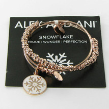 Alex and Ani Holiday Snowflake Set Expandable Bracelet Rose Gold A15HCLSNFLSR - $48.49