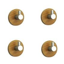MM20LEMO Wall Hooks Hangers Bamboo Wood Waterproof Stick on Hooks for Hanging Ro
