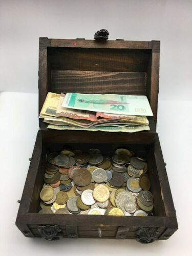 Wood Treasure Chest Mixed World Foreign Coin Paper Money Bank Note 3lb Box