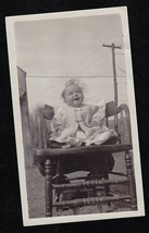Vintage Antique Photograph Cute Baby Sitting in Chair in Yard - $6.93