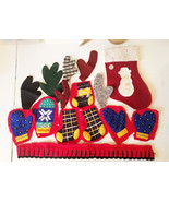 15 christmas stocking deer antlers mittens fabric scrap crafts ornaments... - $3.99